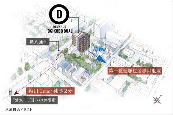 バルコニーは低層住宅街(第一種低層住居専用地域)に向いた棟配置、ガラスウォールの内廊下採用(イメージパース) イメージ
