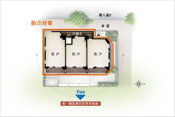 3方角住戸、低層住宅街向きにすべての住戸のバルコニーをレイアウト、各住戸のプライバシー性を高める1フロア―2~3邸の住戸配置(… イメージ