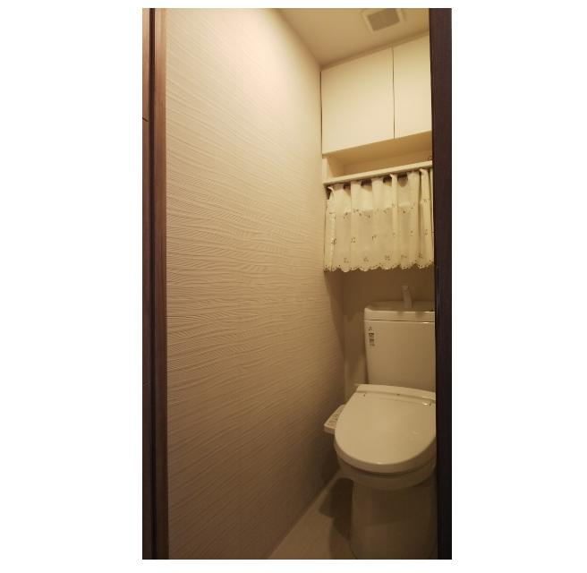 洗浄機能付きトイレ・壁面にはエコカラットを施工。 イメージ