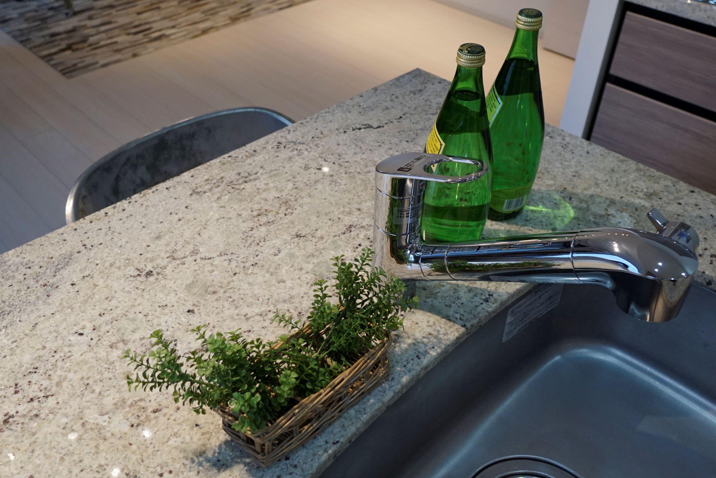天然大理石のキッチン天板&浄水機能付き水栓(2019年6月撮影) イメージ